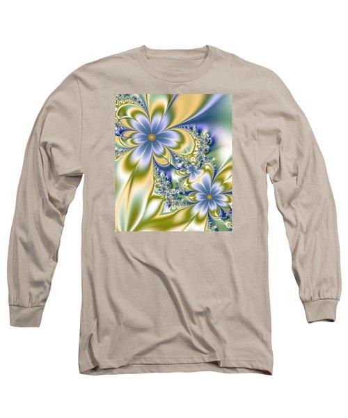 Long Sleeve T-Shirt featuring the digital art Silky Flowers by Svetlana Nikolova