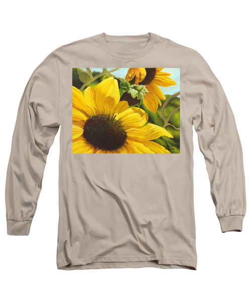 Silver Leaf Sunflowers Long Sleeve T-Shirt