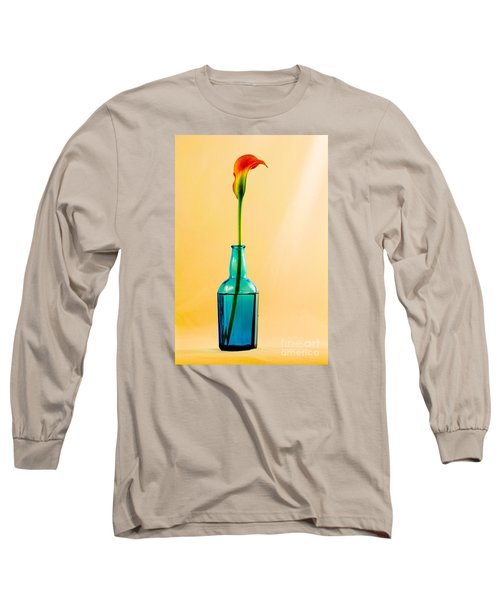 Single Calla In Blue Bottle Long Sleeve T-Shirt