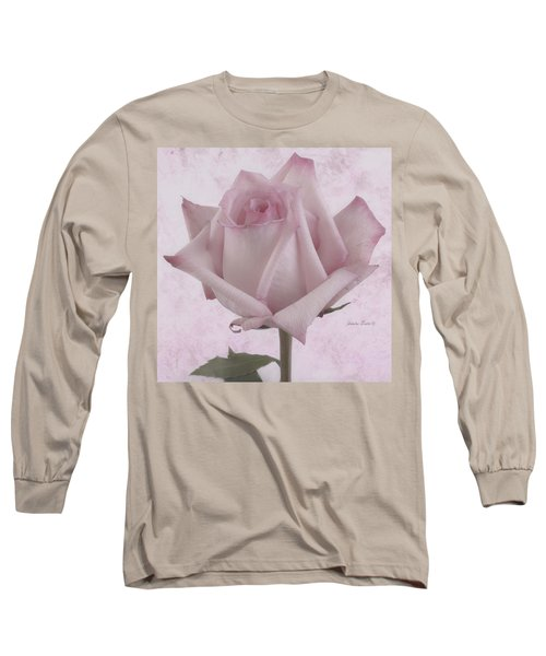 Single Pink Rose Blossom Long Sleeve T-Shirt by Sandra Foster
