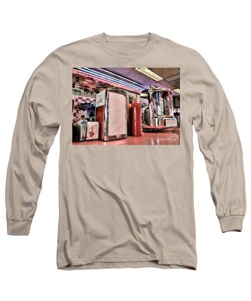 Sitting At The Counter Long Sleeve T-Shirt by Peggy Hughes