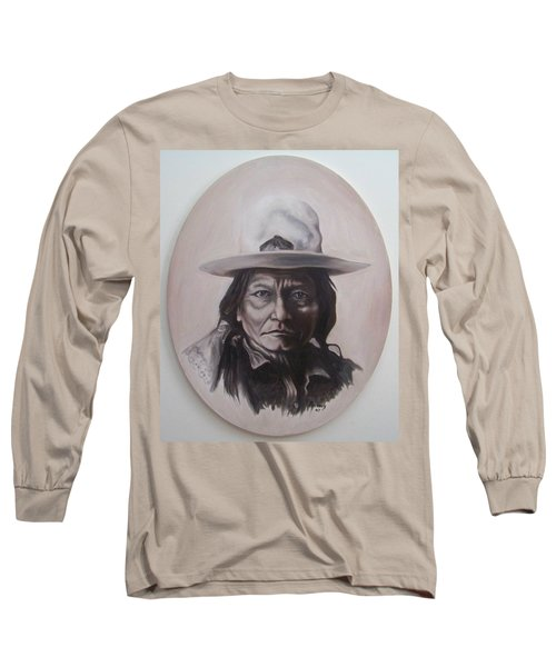 Long Sleeve T-Shirt featuring the painting Sitting Bull by Michael  TMAD Finney