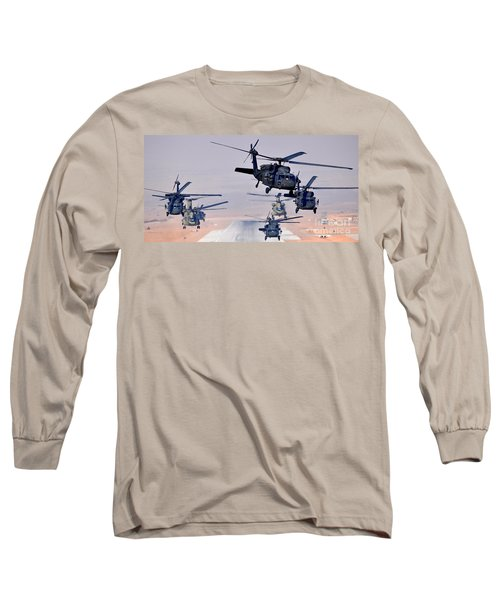 Six Uh-60l Black Hawks And Two Ch-47f Chinooks Long Sleeve T-Shirt