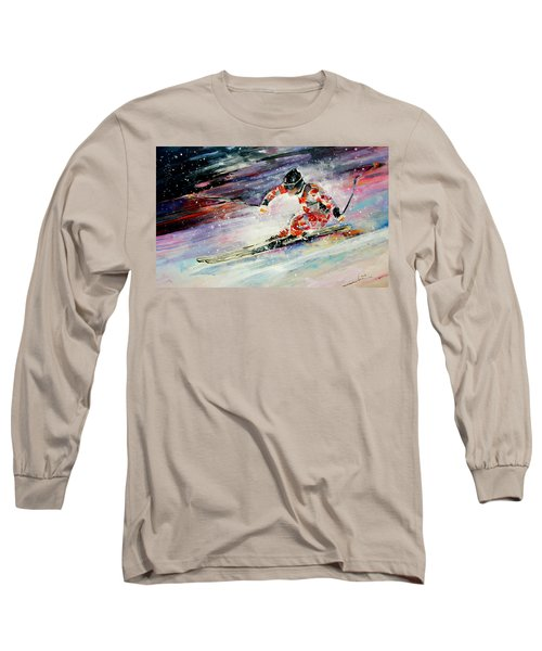 Skiing 01 Long Sleeve T-Shirt by Miki De Goodaboom