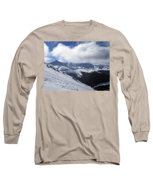 Skiing With A View Long Sleeve T-Shirt by Fiona Kennard