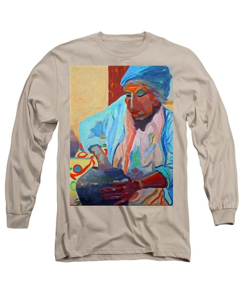 Long Sleeve T-Shirt featuring the painting Sky City - Marie by Francine Frank