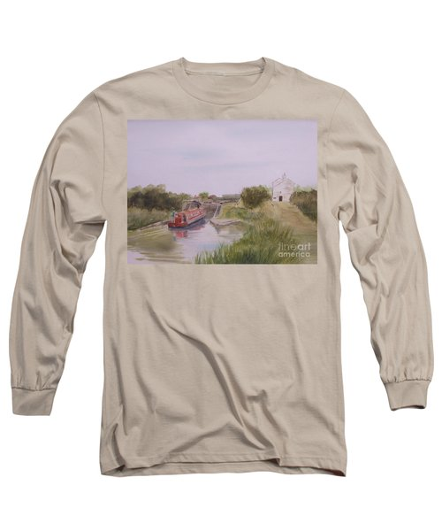 Long Sleeve T-Shirt featuring the painting Slapton Lock by Martin Howard