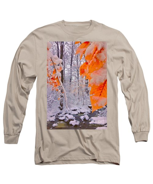Snow Covered Woods And Stream Long Sleeve T-Shirt
