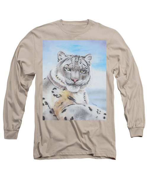 Snow Leopard Long Sleeve T-Shirt by Thomas J Herring
