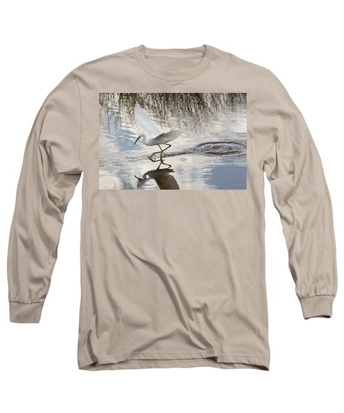 Long Sleeve T-Shirt featuring the photograph Snowy Egret Gliding Across The Water by John M Bailey