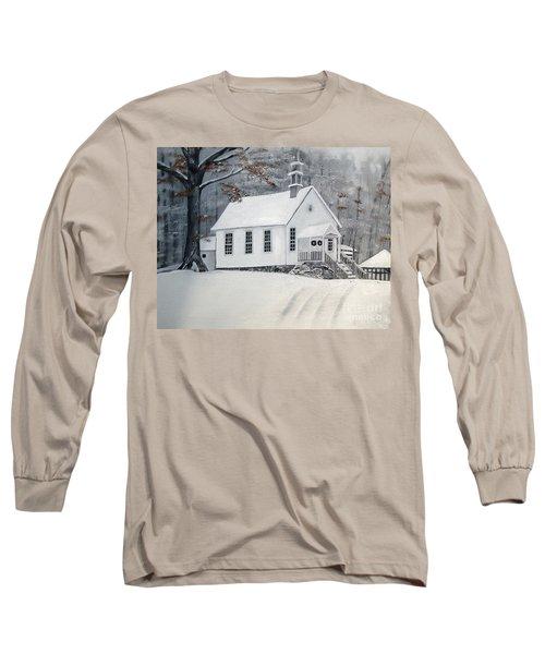 Snowy Gates Chapel  -little White Church - Ellijay Long Sleeve T-Shirt