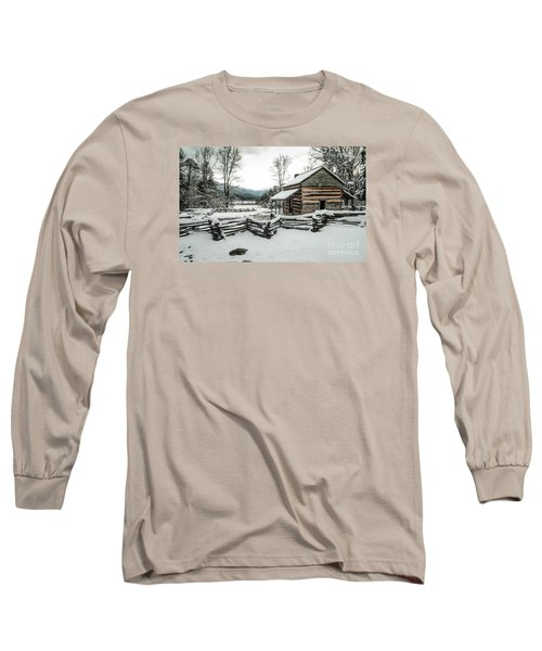 Long Sleeve T-Shirt featuring the photograph Snowy Log Cabin by Debbie Green