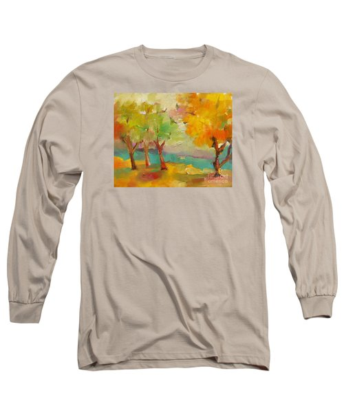 Long Sleeve T-Shirt featuring the painting Soft Trees by Michelle Abrams