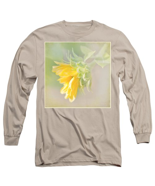 Soft Yellow Sunflower Just Starting To Bloom Long Sleeve T-Shirt