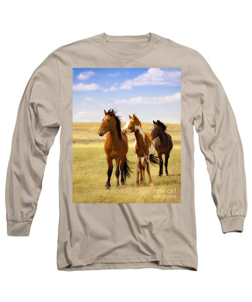 Southwest Wild Horses On Navajo Indian Reservation Long Sleeve T-Shirt by Jerry Cowart