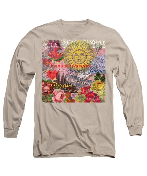 Spain Vintage Trendy Spain Travel Collage  Long Sleeve T-Shirt