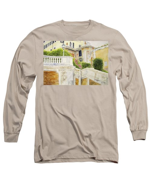Long Sleeve T-Shirt featuring the painting Spanish Steps by Carol Flagg