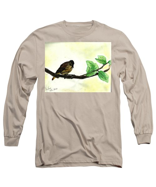 Sparrow On A Branch Long Sleeve T-Shirt by Francine Heykoop