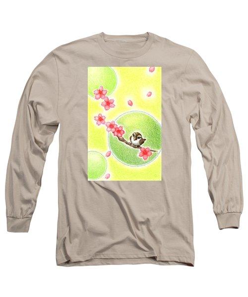 Long Sleeve T-Shirt featuring the drawing Spring by Keiko Katsuta