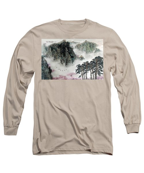 Long Sleeve T-Shirt featuring the photograph Spring Mountains And The Great Wall by Yufeng Wang