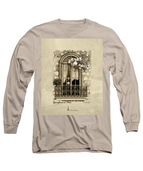 Springtime In Paris In Sepia Long Sleeve T-Shirt