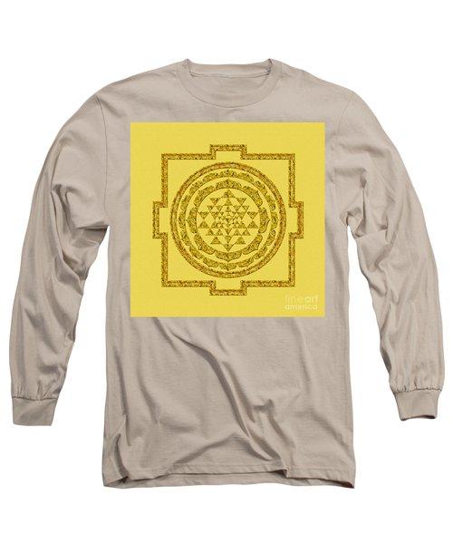 Sri Yantra In Gold Long Sleeve T-Shirt