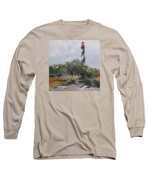 St Augustine Lighthouse First Light Long Sleeve T-Shirt by Mary Hubley