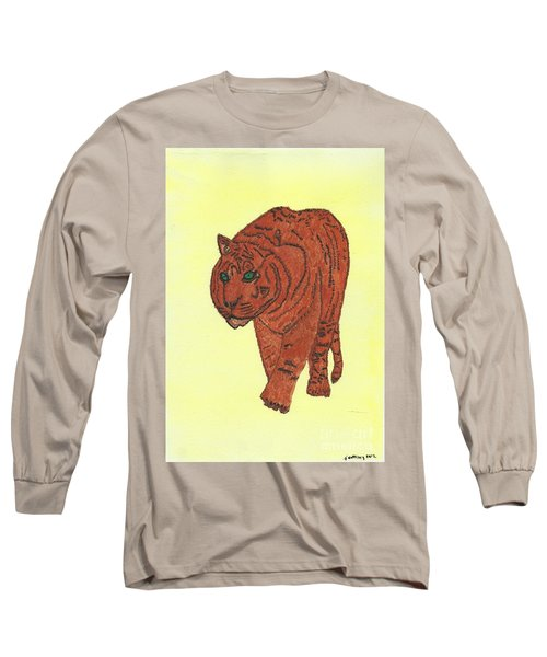 Long Sleeve T-Shirt featuring the painting Stalking Tiger by Tracey Williams