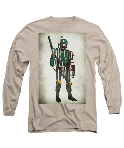 Star Wars Inspired Boba Fett Typography Artwork Long Sleeve T-Shirt