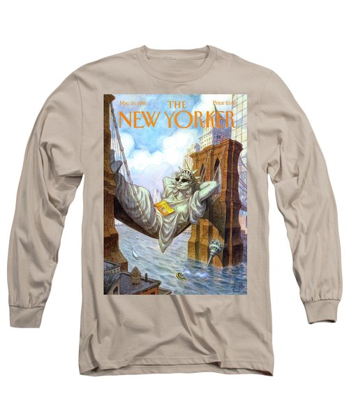 Statue Of Liberty Lounges Between The Brooklyn Long Sleeve T-Shirt