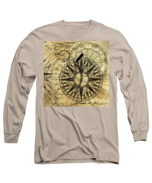 Steampunk Gold Compass Long Sleeve T-Shirt