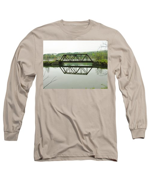 Long Sleeve T-Shirt featuring the photograph Vermont Steel Railroad Trestle On A Calm  Misty Morning by Sherman Perry