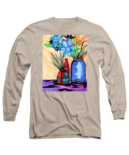Long Sleeve T-Shirt featuring the painting Still Life Flowers by Connie Valasco