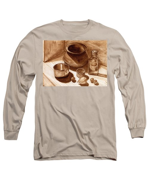 Still Life Walnut Ink Long Sleeve T-Shirt by Mukta Gupta