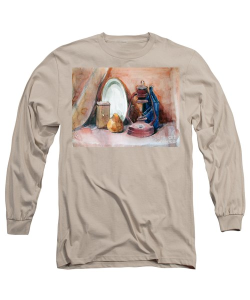 Watercolor Still Life With Rustic, Old Miners Lamp Long Sleeve T-Shirt