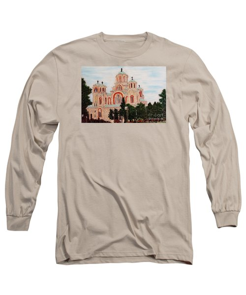 Long Sleeve T-Shirt featuring the painting St.marko Church Belgrade by Jasna Gopic