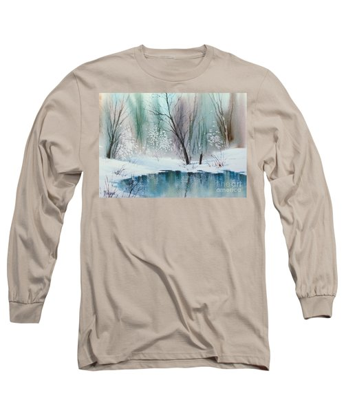 Stream Cove In Winter Long Sleeve T-Shirt by Teresa Ascone