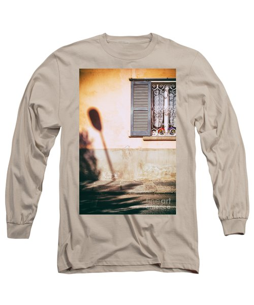 Long Sleeve T-Shirt featuring the photograph Street Lamp Shadow And Window by Silvia Ganora