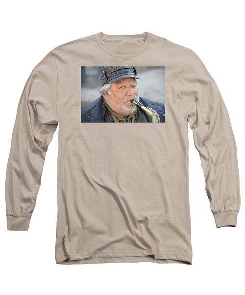 Street Musician - The Gypsy Saxophonist 1 Long Sleeve T-Shirt by Teo SITCHET-KANDA