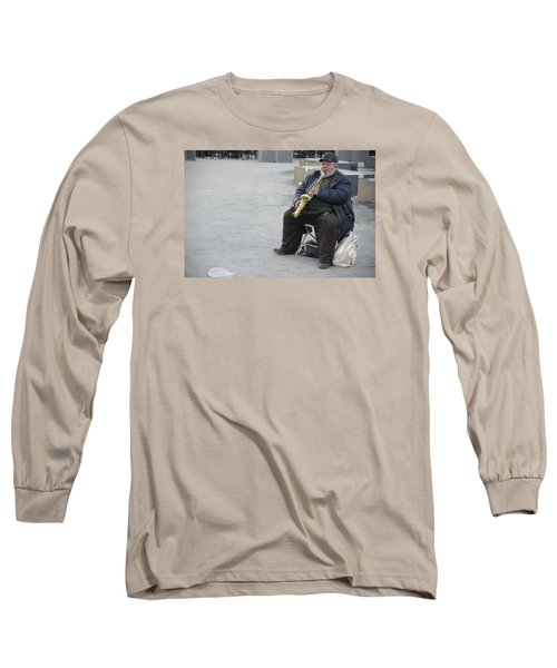 Long Sleeve T-Shirt featuring the photograph Street Musician - The Gypsy Saxophonist 3 by Teo SITCHET-KANDA