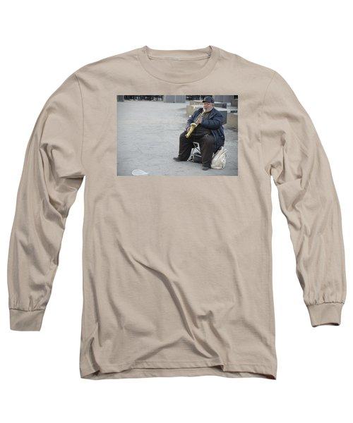 Street Musician - The Gypsy Saxophonist 3 Long Sleeve T-Shirt by Teo SITCHET-KANDA