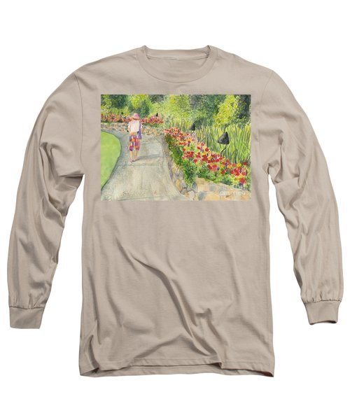 Long Sleeve T-Shirt featuring the painting Strolling Butchart Gardens by Vicki  Housel