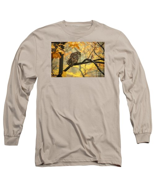 Stubborn Owl Long Sleeve T-Shirt by Debbie Green