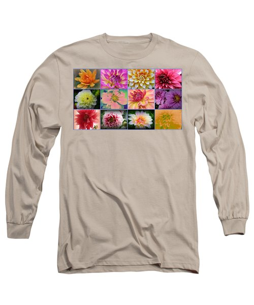 Summer Time Dahlias Long Sleeve T-Shirt by Dora Sofia Caputo Photographic Art and Design