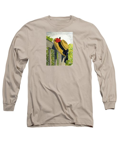 Long Sleeve T-Shirt featuring the painting Summer Hat by Angela Davies