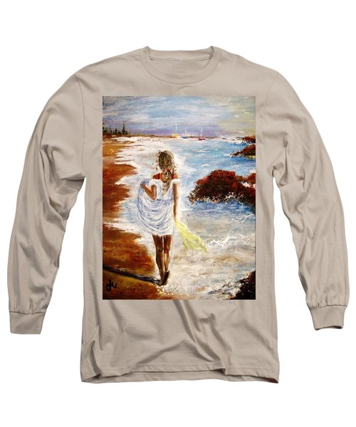 Long Sleeve T-Shirt featuring the painting Summer Memories by Cristina Mihailescu
