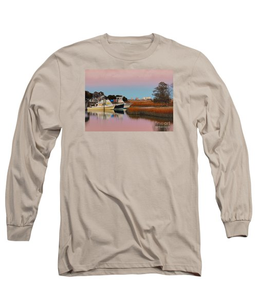 Long Sleeve T-Shirt featuring the photograph Sun Setting At Murrells Inlet by Kathy Baccari