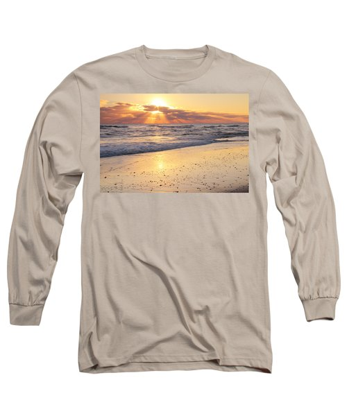 Long Sleeve T-Shirt featuring the photograph Sunbeams On The Beach by Roupen  Baker