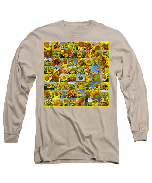 Sunflower Field Collage In Yellow Long Sleeve T-Shirt