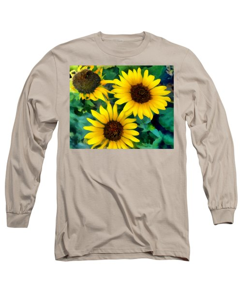 Long Sleeve T-Shirt featuring the photograph Sunflower Trio  by Ann Powell